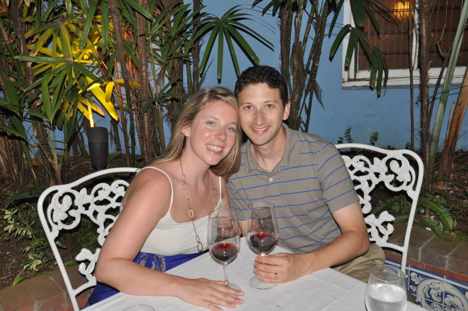 Here's a picture of us at dinner on our honeymoon in Jamaica.