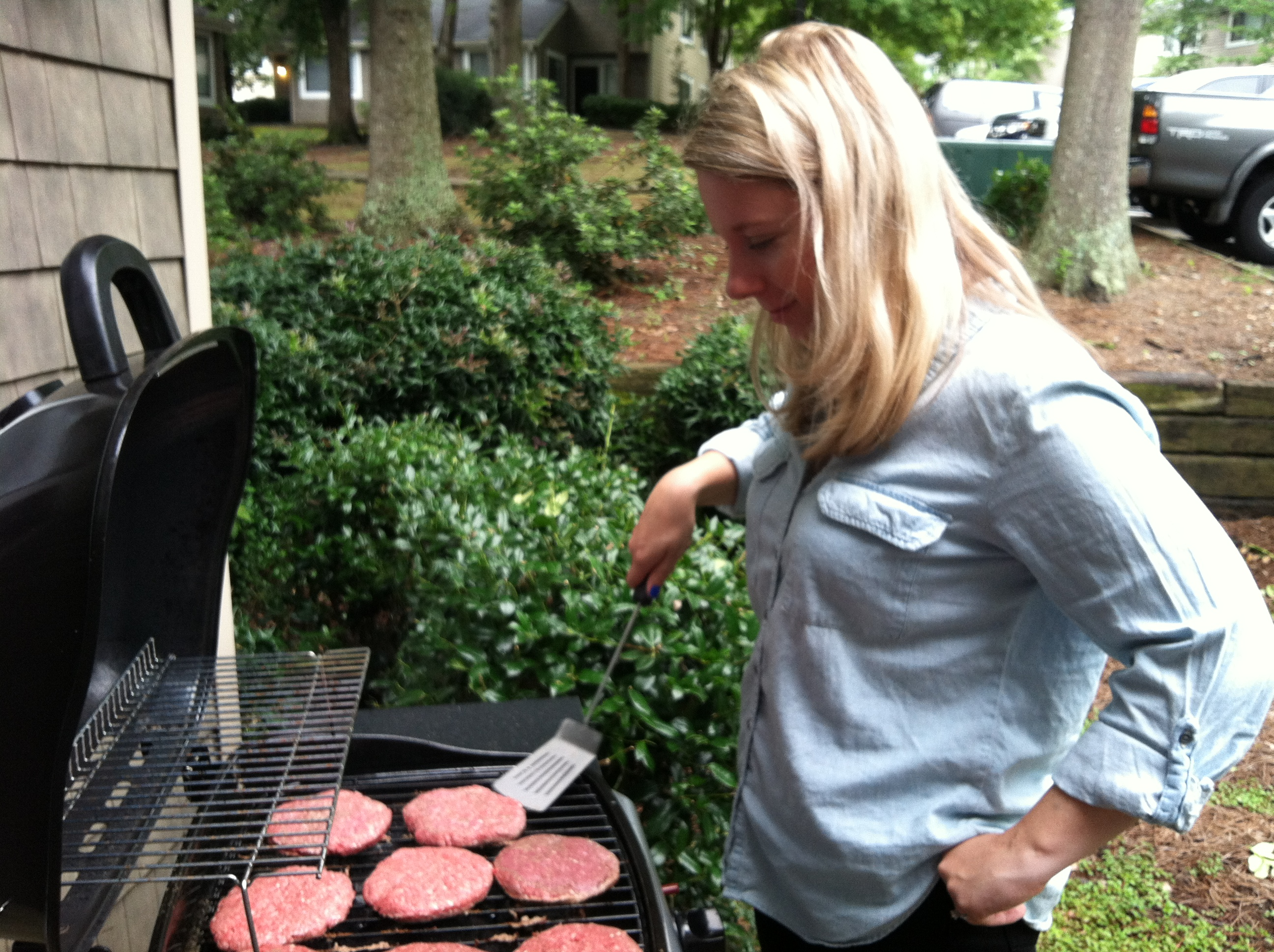 Grill master at work.