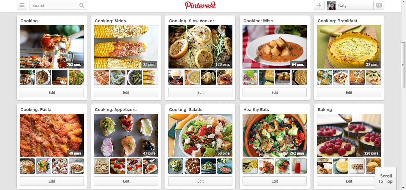 My recipe pinboards
