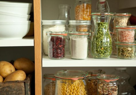 pantry items glass jars
